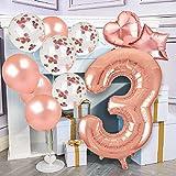 3 Años Decoración de Cumpleaños Número Enorme 3 (100 CM) Globos de Confeti de Látex de Decoración de Fiesta de 3 Años de Oro Rosa para Mujeres Niñas