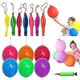 Lifreer 100 globos perforados grandes con banda elástica, globos de fiesta multicolores con relleno para bolsas de cumpleaños, Halloween y Navidad