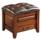FTFTO Household Products Stool Home Solid Wood Leather Sofa Short Stool Table Stool Small Wooden...