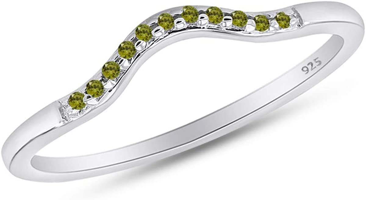 AFFY Round Clearance SALE Limited time Cut Simulated Peridot Curved Wedding Ring in 14k Bombing new work Band