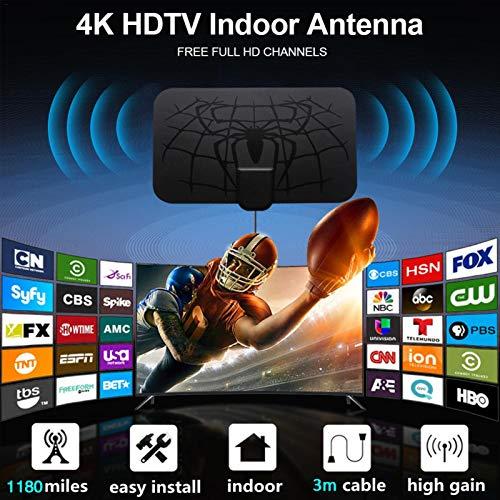 YESS Antena de TV, 1180 Millas 4K HDTV Digital Antena Interior con Amplificador Amplificador de señal Radius TV Antenas HD de Antena Antena con recepción más Fuerte VHF/UHF y transmisión Newcomer