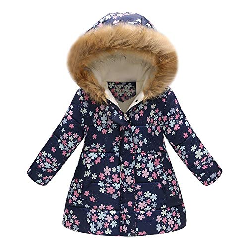 Cappotto con Cappuccio per Ragazze Ragazzi Bambini Giacca Manica Lunga Invernale Capispalla Imbottito Caldo Neonata Bambina Giubbotto 2-7 Anni