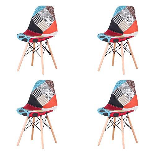 Uderkiny Set di 4 Sedia in Stile Nordico Sedia da Pranzo Patchwork, Adatte per Sala da Pranzo Soggiorno (Rosso 02)