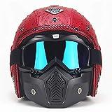AKBOY Casco Harley Davidson Casco Moto Integral, Casco Harley Motocicleta Personalidad Casco Retro Medio Incorporado Gafas Dot Aprobado Unisex Cuatro Estaciones con Visera UV Gafas(S,M,L,XL,XXL),XXL
