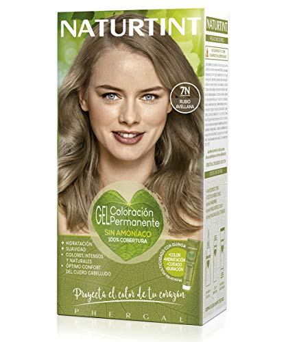 Naturtint Coloración 7N Rubio Avellana, Tinte sin Amoniaco, 100% Cobertura de canas...