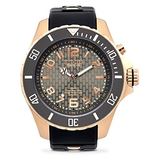 KYBOE! Reloj de Cuarzo de Acero Inoxidable y Silicona (Modelo: Oro Rosa Nocturno)