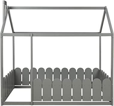 Twin Size Wood Bed House Bed Frame with Fence, Cabin Bed, Floor Bed, Nursery Furniture, Kids Tent Bed Play Tent (Gray)
