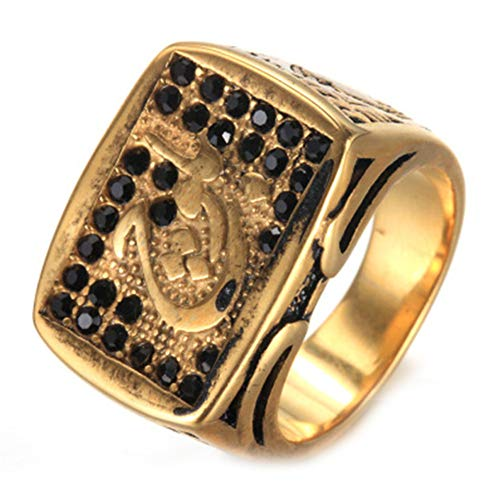 LANCHENEL Anillos Religiosi Musulmanes Allah Ring de Titanio Acero Dorado