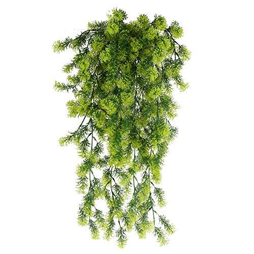 HUAESIN 3 Pcs Hängepflanzen Farn Hängend Künstliche Kiefern Kunstpflanzen Hängend Plastikpflanzen Lange für Weihnachten Hochzeit Innen Äußer Zuhause Garten Party Balkon Deko 75cm