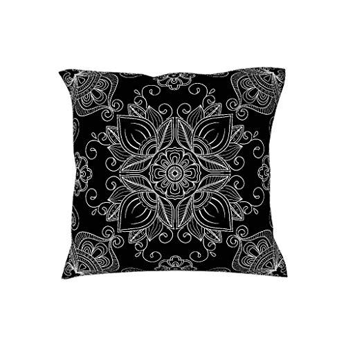 July vierkante kussensloop voor bed, mandala, zwart