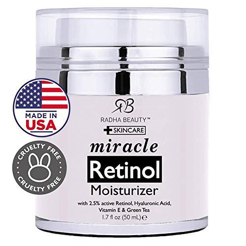 Radha Beauty Retinol Moisturizer Miracle Cream for Face - with Retinol, Hyaluronic Acid, Vitamin E...