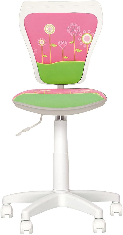 CHAISE-EXPERT MiniSTYLE – Bürostuhl Kinder PIVOTANT A 360°. Hhenverstellbar Verstellbare Rückenlehne und Sitzflche tief verstellbar Fleur Weiß