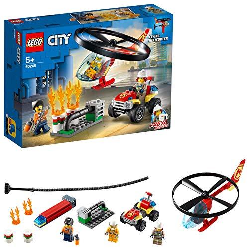 LEGO City Fire Elicottero dei Pompieri, Include 1 Quad ATV Giocattolo e 3 Minifigure, Giochi per Bambini di 5+ Anni, 60248