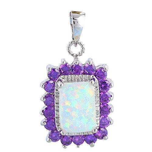Morado Zircon para mujeres elegante Color Blanco Fuego Opal colgante de plata Fashion Jewelry ops676