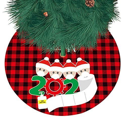 NICENEEDED Faldas de Árbol de Navidad de Cuadros de Búfalo de 36 Pulgada, Falda de Árbol de Tela Escocesa Roja Negra para Decoraciones de Interior Y Exterior de Fiesta Navideña
