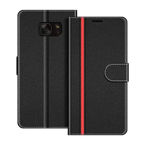 COODIO Handyhülle für Samsung Galaxy S7 Handy Hülle, Samsung Galaxy S7 Hülle Leder Handytasche für Samsung Galaxy S7 Klapphülle Tasche, Schwarz/Rot