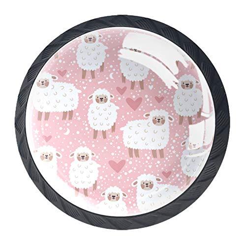 Möbelknöpfe Cartoon Lamm Möbel Schublade Zugknopf Schrank Küchengriff Kinder Schlafzimmer Schrank Kommode Knöpfe mit 4 Stück 3.5x2.8cm