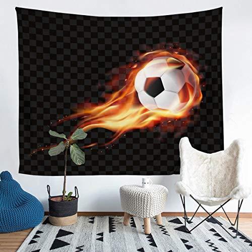 Tapiz de fútbol para colgar en la pared para hombres, adolescentes, niñas, diseño de bola negra, para pared, temática deportiva, decoración de pared para dormitorio, sala de estar, 152 x 228 cm