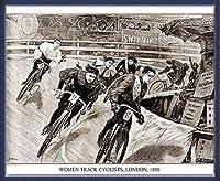 ポスター アーティスト不明 Women Track Cyclists 1898 額装品 ウッドベーシックフレーム(ブルー)