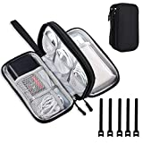 DDgro Electronics Travel Organizer, Waterproof Tech Accessories Pouch Bag for Keeping Certificates/Charger/Power Bank/Cables/Mouse/Earphone/Students' stationeries Organized (Black)