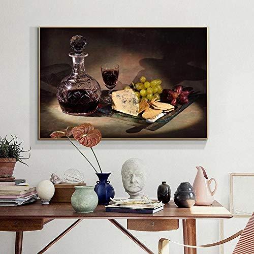 SJLAQ Copa de Vino UVA Vino y Queso Lienzo Pintura Pared Arte imágenes Cartel impresión Sala de Estar decoración-50x70cmx1 Piezas sin Marco