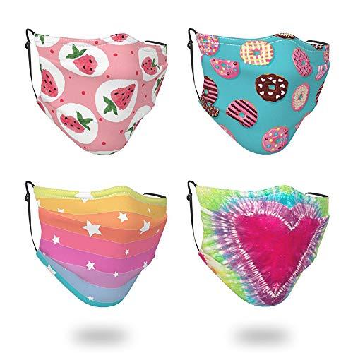4 Pcs Big Kids Face Bandana with Cute Pattern Reusable Cloth Face Mask Bandanas Covering Set for Teens Boys Girls Age 7-16 (Donut Rainbow)