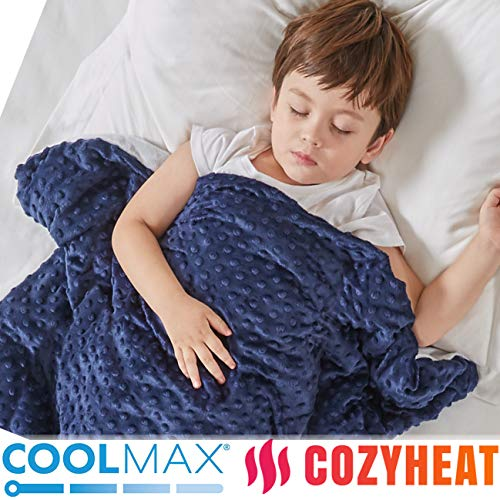 Degrees of Comfort Cooling Weighted Blanket Kids with Cover 2 Duvet for Hot & Cold Sleepers|Advanced Nano-Ceramic Beads Deliver Durability & Silky Comfort (36x48 5lbs Navy)