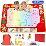 Water Doodle Mat, 49×37 Inch Extra Large Water Drawing Mat with Painting Booklet Colorful Aqua Magic Mat Educational Toys Gifts for Kids Toddlers Age 2 3 4 5 6 7 8 Year Old (Style Random Shipment)