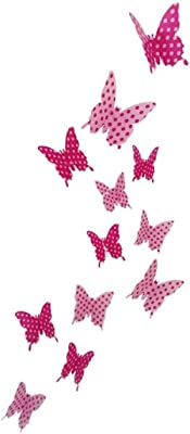 JAAMSO ROYALS DIY 3D Butterfly Wall Sticker Art Decal PVC Paper- 12pcs (Pink Dot) Wall Sticker for Home Décor