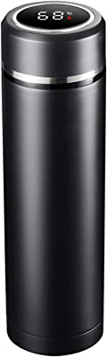 Smart Thermos Thermos Cup, Travel car Insulated Stainless Steel 316 airless Bottle with LED Touch Screen Temperature Thermos Non-Slip and Leak-Proof Water Cup for Travel School Office 500ML (Black)