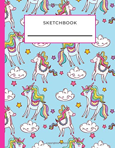 Sketchbook: Rainbow Unicorn Pattern on Light Blue Cover / Unruled Unlined Paper / 8.5x11 Inches, Notebook Size / Design Book / Great Gift for Creatives, Artists and People Who Love To Draw