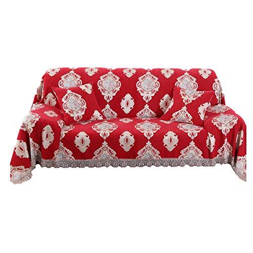 HAODEE Fundas de Sofa Resistente al Agua Cubresofa Sillón de la Cubierta Sofás Cubre Sofá Cubierta de Asiento Cubierta de sofá elástico Elástico sofá Cubre 180X180,Red