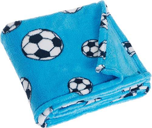 Playshoes Baby und Kinder Fleece-Decke, vielseitig nutzbare Kuscheldecke für Jungen und Mädchen, 75 x 100 cmmit Fußball-Muster