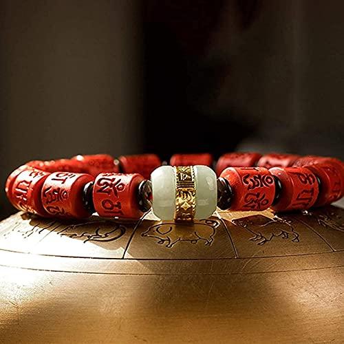Pulseras con cuentas de piedras preciosas premium CINNABAR BANGLE FENG SHUI Pulsera para las mujeres Cinabar Tube Buda Pulsera Tallada Suelte Pulsera Mantra Budista Buda Pulsera Elástica Rosario Pulse