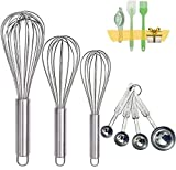 [Reinforced Metal Whisk]:12 inches of food-grade stainless steel whisk adopted bold 8 wire processing, which solves the pain of bending or the line breaking of some common whisks for cooking on the market during some heavy mixing and stirring.The wir...