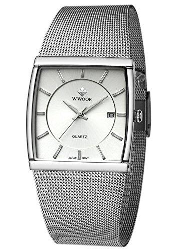 Wwoor Reloj analógico de cuarzo con correa de malla de acero inoxidable, resistente al agua, luminoso cuadrado, color plateado