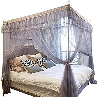 Princess Bedding Mosquito Net Bed Canopy - Lace Luxury 4 Corner Square Princess Bed Curtain Canopy Net Canopie, Indoor Outdoor - Only The Net, Grey (Size : 1.5 m (5ft))
