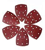 Hojas de lija,60 PCS hojas de lija triangulares para lijar, 11 orificios Hojas de lijadora de 140 x 140 x 100 mm,10 piezas de cada una de granos surtidos de 40/60/80/120/180/240,para lijar y pulir
