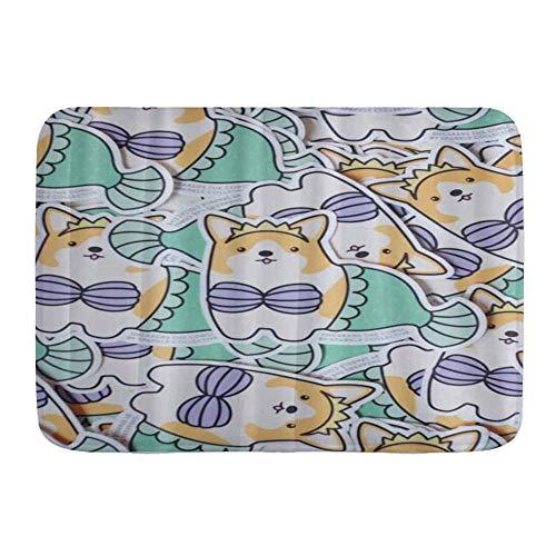 Fußmatten, 3D-Muster drucken lustige Bikini Corgi Hund Meerjungfrau, Küche Boden Bad Teppich Matte saugfähig Innen Bad Dekor Fußmatte rutschfest