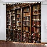 LWXBJX Opacas Cortinas Dormitorio - Biblioteca Tridimensional - Impresión 3D Aislantes de Frío y Calor 90% Opacas Cortinas - 150 x 166 cm - Salon Cocina Habitacion Niño Moderna Decorativa