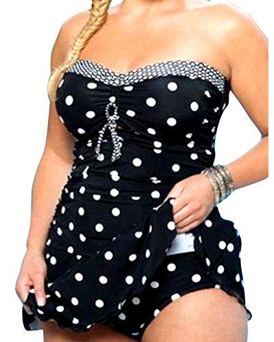 Maillot De Bain Femme Deux Pieces Tankini À Pois Bustier Push Up Bikini Halterneck Grande Taille Beachwear Noir 5XL