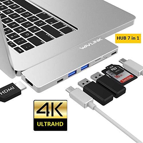 WAVLINK USB-C Hub 4K HDMI Ataptador Diseño de Aluminio, con USB 3.0 Puertos, Memoria Puertos y Puerto de HDMI para MacBook Pro 2018/2019 de 13