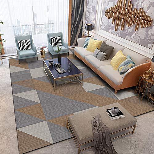 Teppich Groß Teppiche Grauer brauner moderner geometrischer Musterwohnzimmer-Couchtisch schmutzabweisender Teppich Fühlt Sich weich an Modernes Design Esszimmer Teppiche140*200cm
