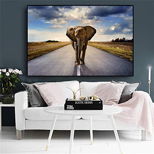 Afrikanischer Elefant Wildtier Sonnenuntergang Landschaft Leinwand Malerei Plakate und Drucke moderne Wandkunst Bilder Wohnzimmer rahmenlose dekorative Malerei A9 60x90cm
