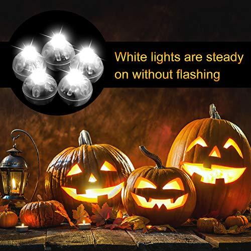 FEPITO 50 Pz LED Ball Balloon Light White Led Flash Ball Lamp per lanterna di carta Palloncino Light Party Decorazioni per feste di Halloween