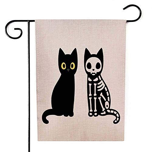 qinzuisp Flagge Cartoon Schwarze Katze Zeichnung Skelett Niedlich Halloween Clipart Spaß Gartenflagge Feiertage Yard Banner Willkommen Dekorieren Doppelseitigen Druck Im Freien Bunte Jahre