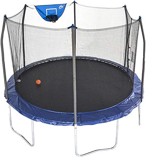 Skywalker Trampolines 12-Foot Jump N' Dunk Trampoline with Enclosure Net - Basketball Trampoline, Blue