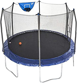 Skywalker Trampolines 12-Foot Jump N' Dunk Trampoline with Enclosure Net - Basketball Trampoline Blue