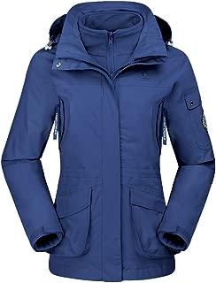 Chaqueta de Esquí 3 en 1 para Mujer 2 Piezas al Aire Libre Resistente al Agua a Prueba de Viento Paño Grueso y Suave Dentro de la Capa con Capucha