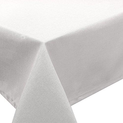 Tischdecke Fleckschutz Lotus Effekt Garten Leinenoptik abwaschbar in 27 Größen und 15 Farben in eckig, oval und rund Farbe: weiß eckig 160x320 cm